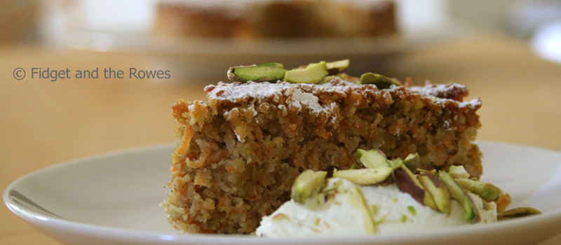 Spiced carrot, pistachio and almond cake | Fidget and the Rowes