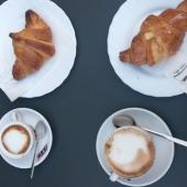 coffee, cappuccino, croissant