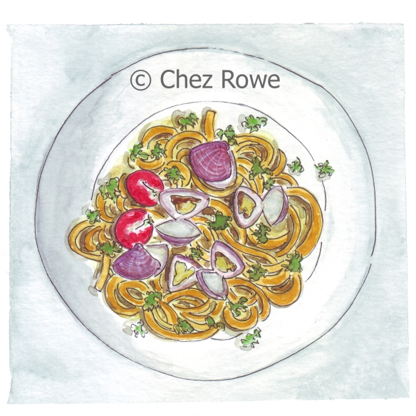 Chez Rowe - Spaghetti Con Le Vongole illustration watercolour
