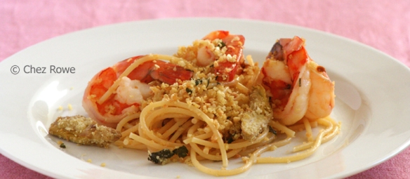 prawns and artichoke spaghetti
